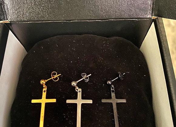 1-2 inch Cross Male Earrings (2 a Pair)