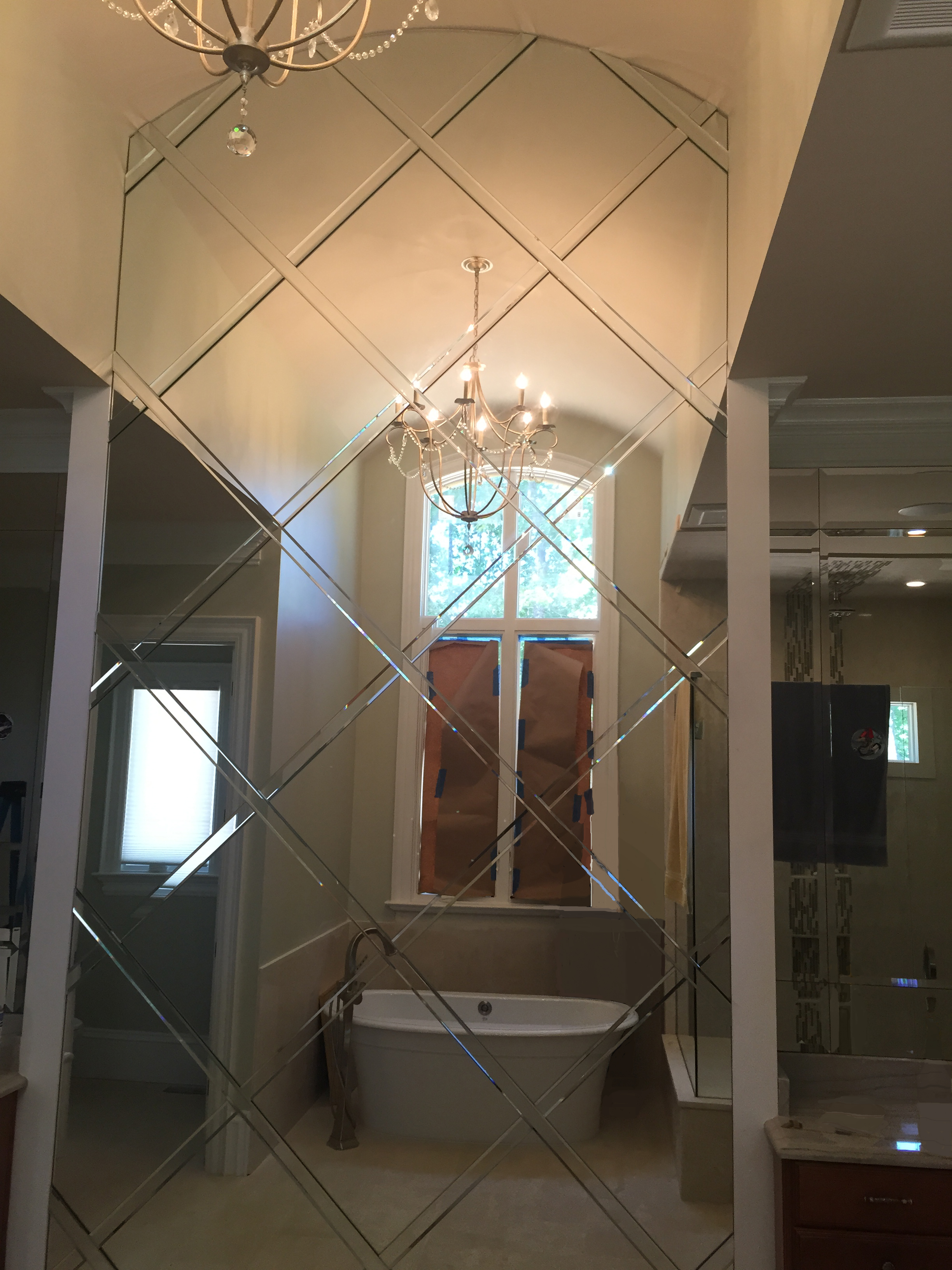 Overheight Custom Basket Weave Mirror