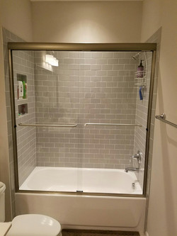 Semi-Frameless By-Pass Shower with Bolt Through Towel Bars