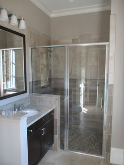 Chrome Semi-Frameless Shower with Notch Panel and C-Pull Handle