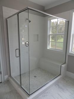 Semi-Frameless Shower with Butt Glaze Corner & Notch Panel