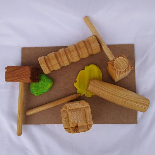 Play Dough Wooden Tools Set with Two Mats