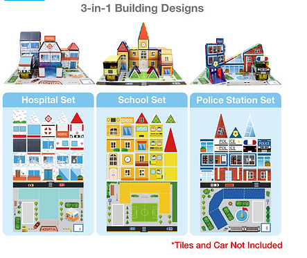 PicassoTiles: 80pc 3-in-1 Stick-on Graphics (School, Hospital & Police Station)