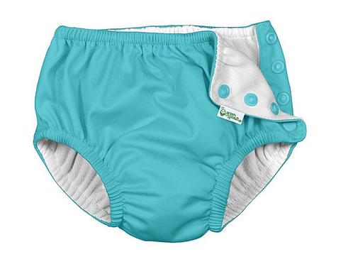 3pc set Rashguard, Swim Diaper & Hat - Light Aqua