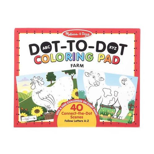 Melissa & Doug: ABC 123 Dot-to-Dot Coloring Pad (Farm)