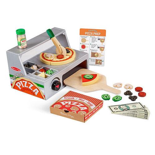 Melissa & Doug: Top & Bake Pizza Counter - Wooden Play Food