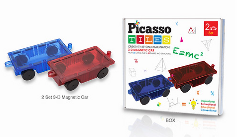 2 Magnetic Cars - 3D Magnetic Building Block Tiles