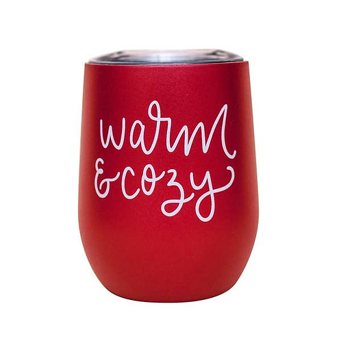 Warm and Cozy - Metal Wine Tumbler