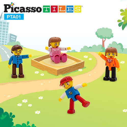 PicassoTiles: 4 piece Family Character Set