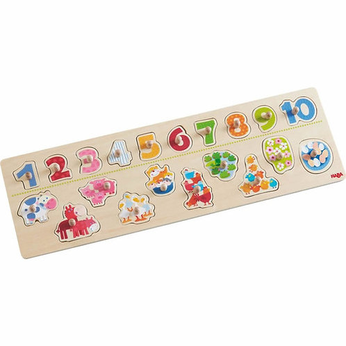 HABA Toys: 20pc Peg Puzzle Animals & Numbers