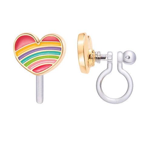 Earrings - Choice of Clip-on or Studs (Rainbow Hearts)