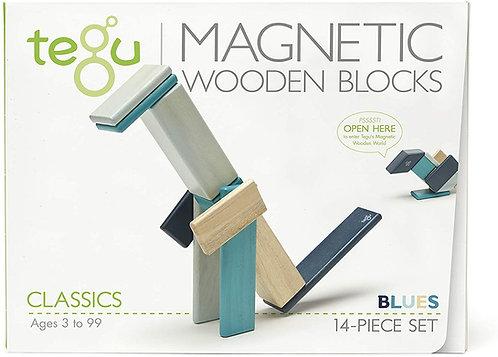 Tegu: 14pc Magnetic Wooden Blocks (Blues)