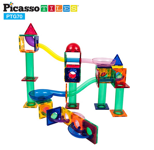 PicassoTiles: 70pc Magnetic Marble Run