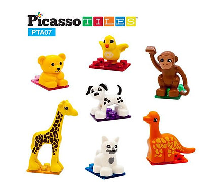 PicassoTiles: 7pc Magnetic Animal Figures