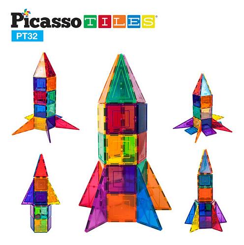 PicassoTiles: 32pc Rocket Ship