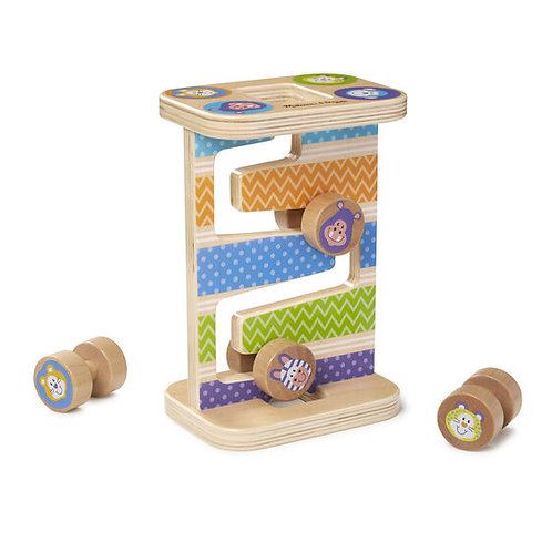 Melissa & Doug: First Play Wooden Safari Zig-Zag Tower With 4 Rolling Pieces