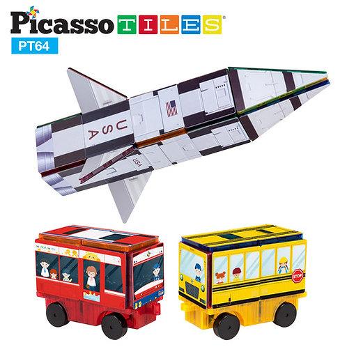 PicassoTiles: 64pc Rocket, Train, & School Bus