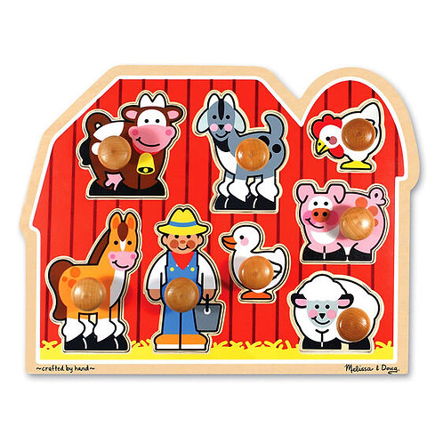 Melissa & Doug: 8pc Wooden Jumbo Knob Puzzle (Farm)