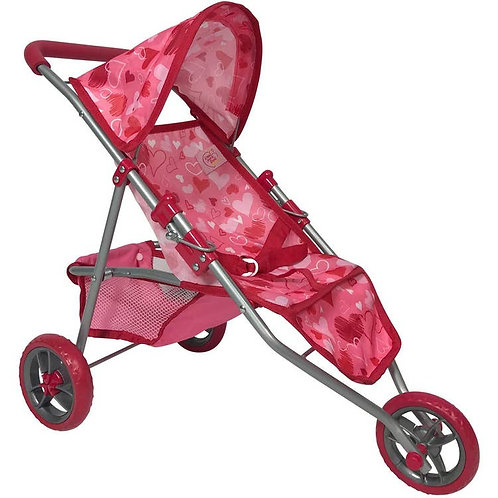 Doll Jogging Stroller (Pink Hearts)
