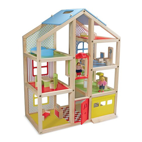 Melissa & Doug: Hi-Rise Wooden Dollhouse and Furniture Set