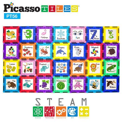 PicassoTiles: 56pc Alphabet 3D Magnetic Building Block Tiles