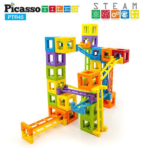 PicassoTiles: 45pc 3D Magnetic Roller Coaster Building Blocks