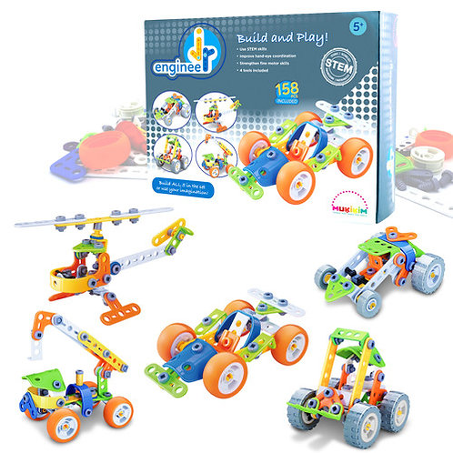 158pc Jr Engineer Build & Play - Car & Copter