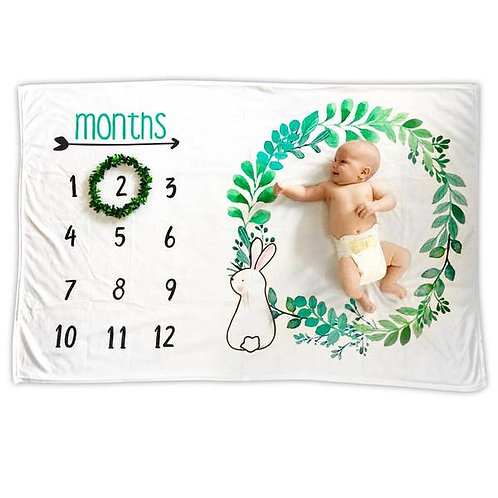 Baby Monthly Milestone Blanket - Bunny