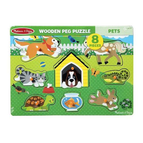 Melissa & Doug: 8pc Peg Puzzle (Pets)