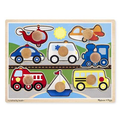Melissa & Doug: 8pc Wooden Jumbo Knob Puzzle (Vehicles)