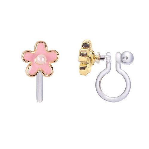 Earrings - Choice of Clip-on or Studs (Pink Fancy Flower)