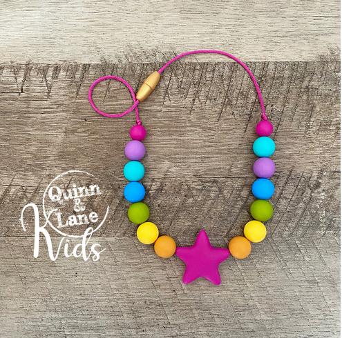 Kids Fidget Necklace - Rainbow Star
