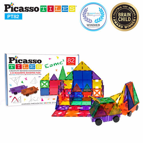 PicassoTiles: 82 Piece Set (2 Cars Included)