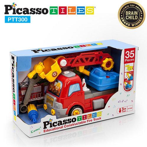 PicassoTiles: 35pc DIY Take-Apart Firetruck