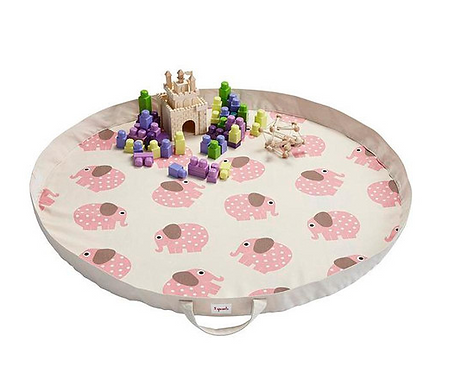 Roll Up Play Mat Bag - Pink Elephant