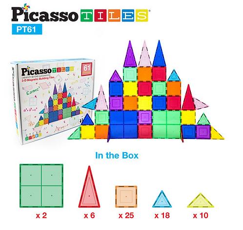 61 Piece Set - 3D Magnetic Building Block Tiles