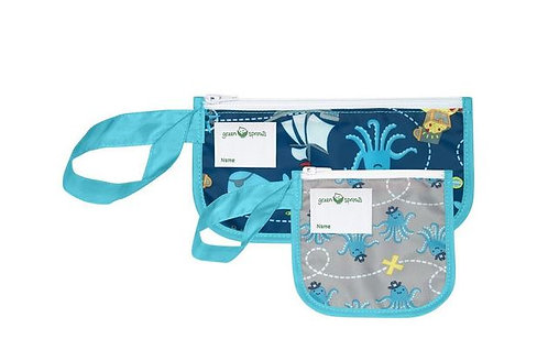 Green Sprouts: 2pk Reusable Snack Bags (Aqua Pirate)