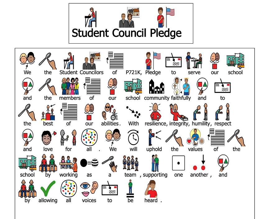 student council pledge using boardmaker symbols