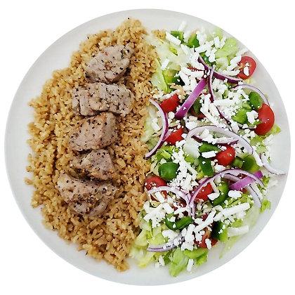 Greek Rice, Salad & Pork