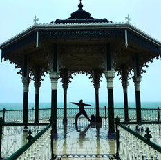 outdoor yoga at bandstand when it rains