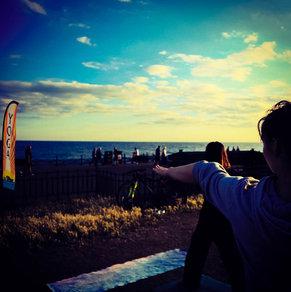 Outdoor yoga at Brighton beach