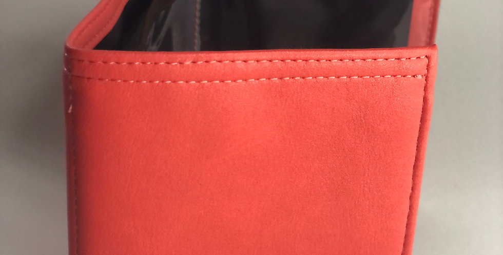 Red Faux Leather Dash Pouch
