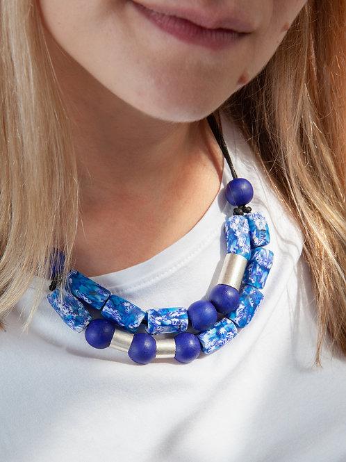 Blue statement glass necklace