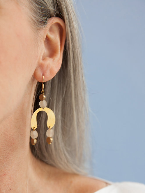 Modern brass geometric earrings
