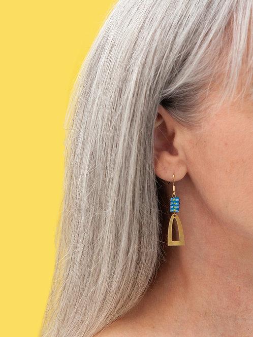 Brass recycled glass earrings