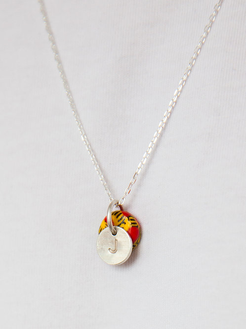Delicate personalised initial disc necklace with recycled glass bead
