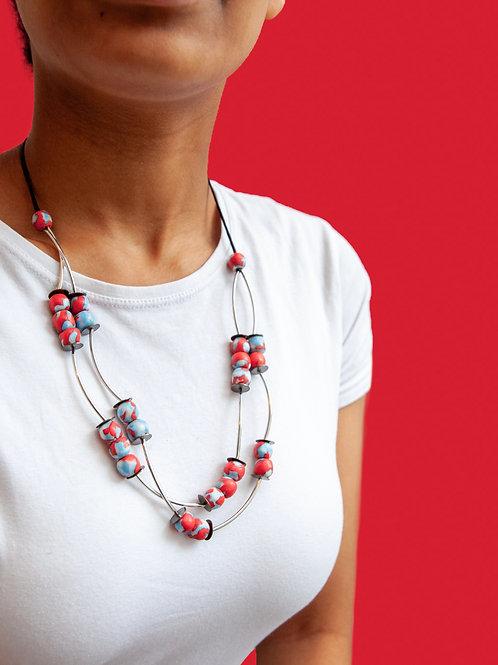 Multi strand coloured glass necklace