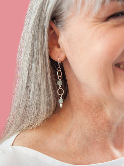 Delicate silver and glass dangle earrings