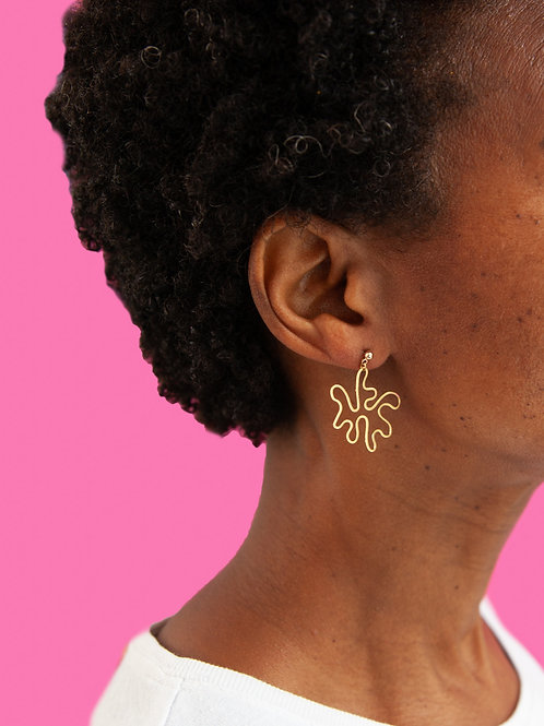 Minimal brass squiggle earrings