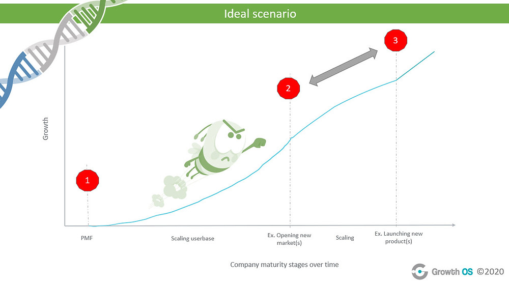Graph showing the ideal growth scenario over time